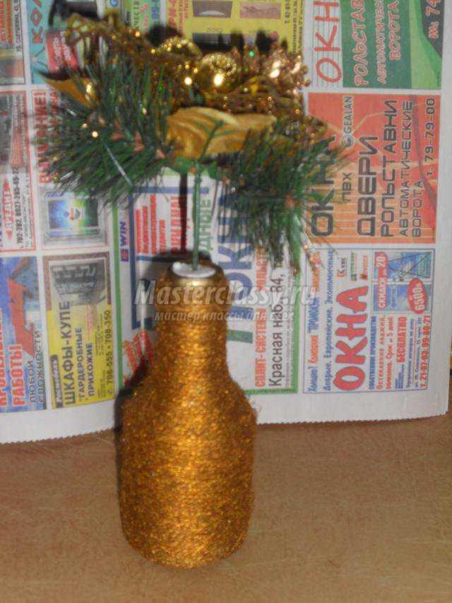 декор бутылки зимняя композиция