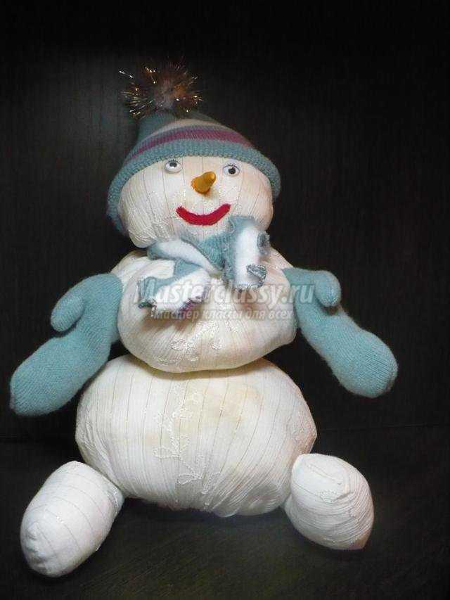 новогодняя поделка снеговик из ткани