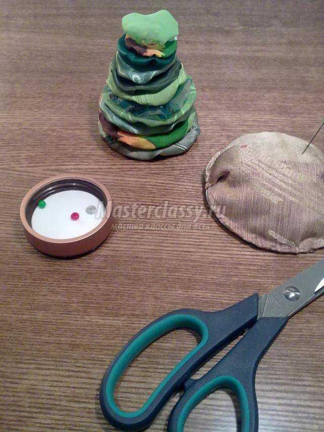 новогодняя игрушка из ткани елочка