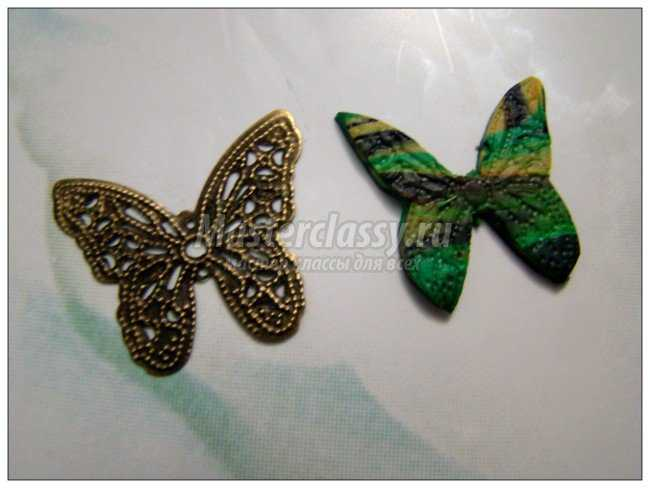 Цветочные серьги Бабочки из цветов из пластики