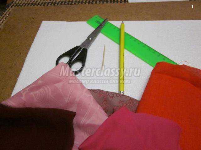 валентинка из лоскутов ткани
