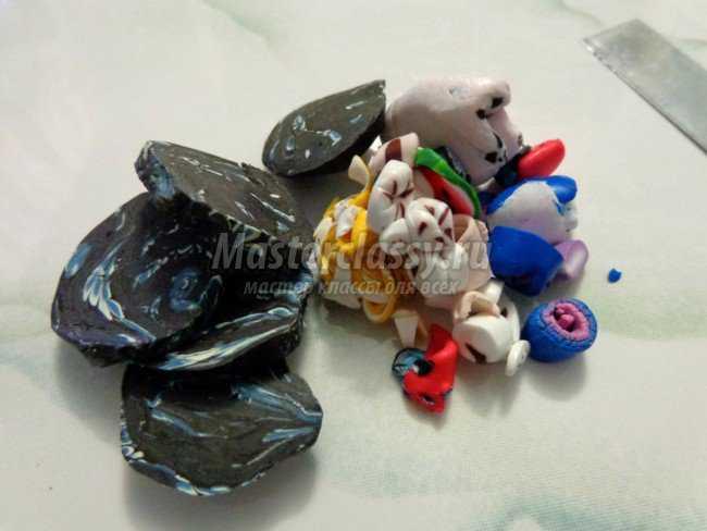 Бусы в технике Мокуме Гане из пластики