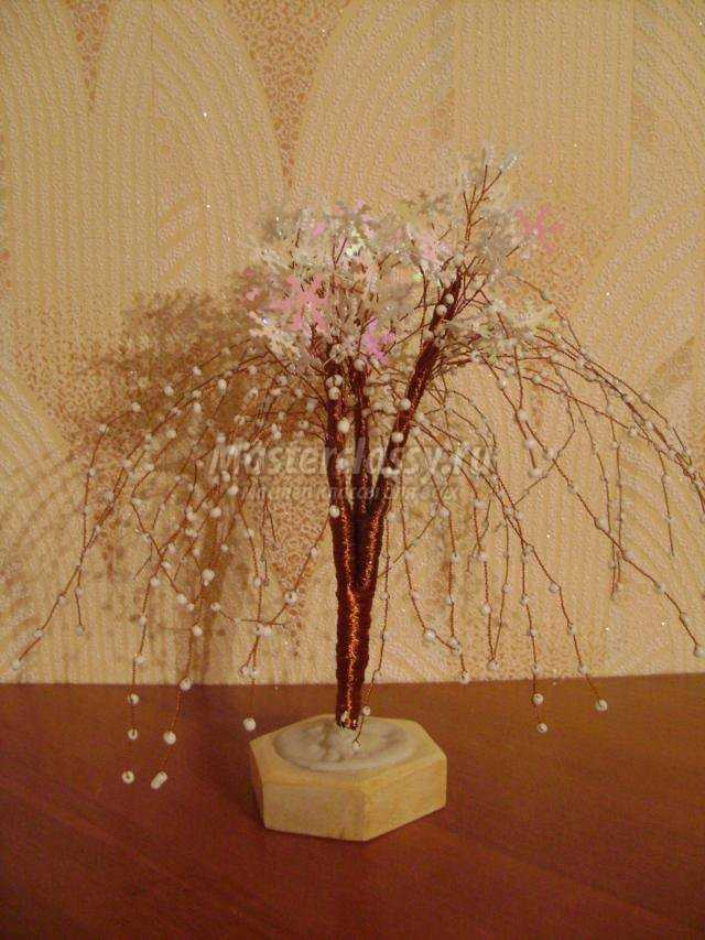 дерево из бусин и пайеток. Метелица