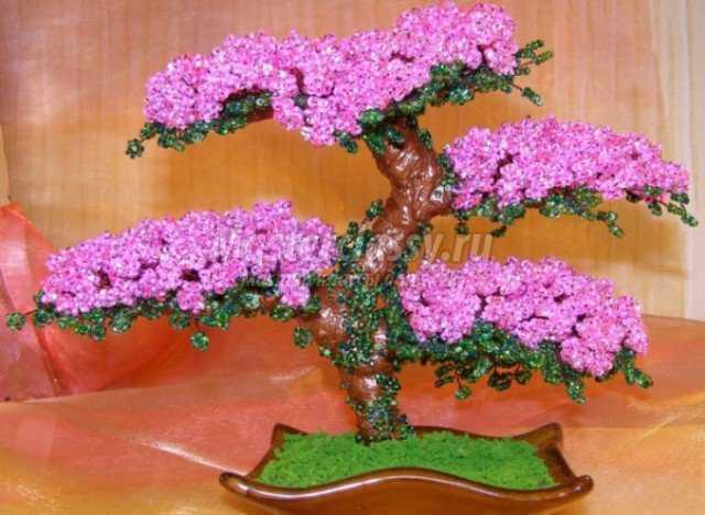 Деревья из бисера мастер-класс: сакура и березка 58