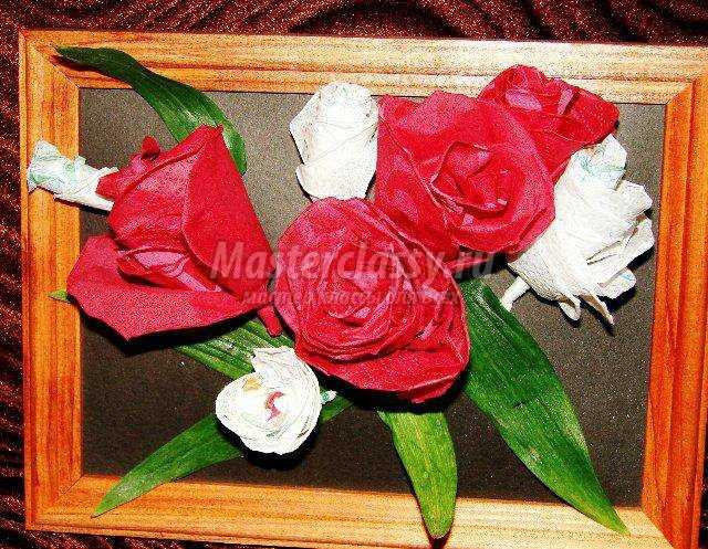 панно с розами из салфеток