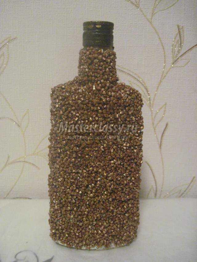 Как украсить бутылку фото пошагово