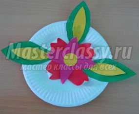 Детские поделки к 8 Марта. Тарелочка с цветами. Мастер класс с пошаговым фото