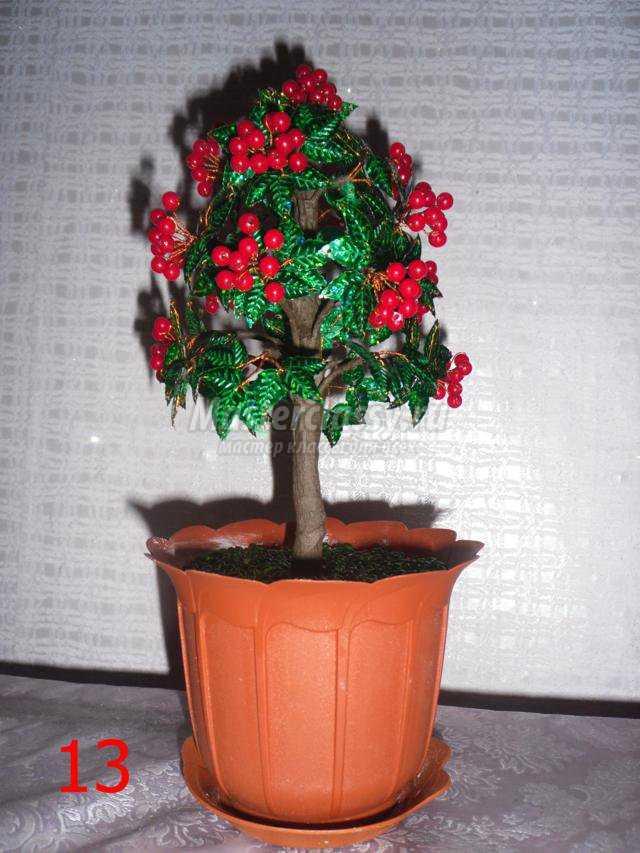 дерево из бусин. Калина