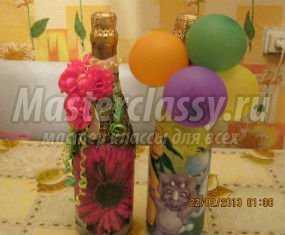 Декупаж. Подарочная бутылка шампанского для мальчика. Мастер класс пошаговым фото