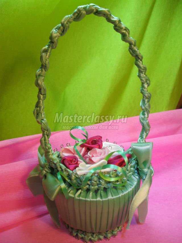 корзинка из атласных лент с цветами