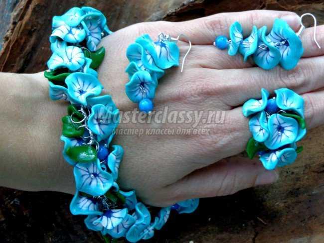 Комплект цветы из полимерной глины