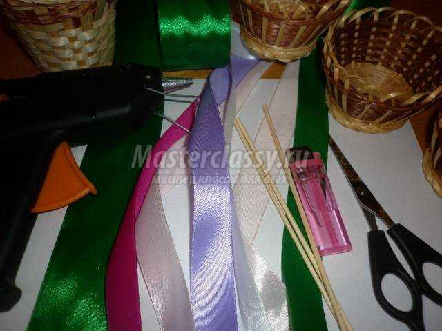 Корзинки с цветами с атласных лент своими руками фото 470