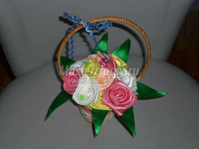 Корзинки с цветами с атласных лент своими руками фото 915
