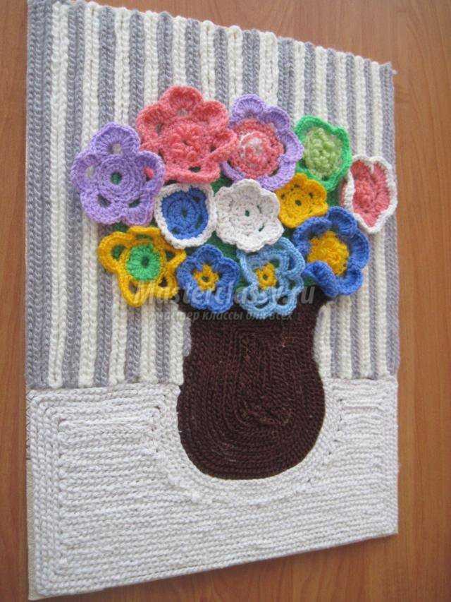 вязание крючком декоративное панно цветы мастер класс с