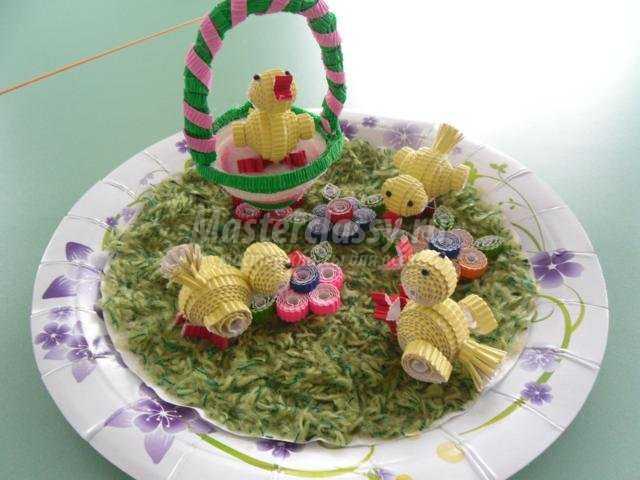 пасхальный сувенир квиллинг. Цыплята