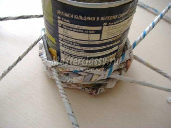 Плетение трубочек. Органайзер для ручек