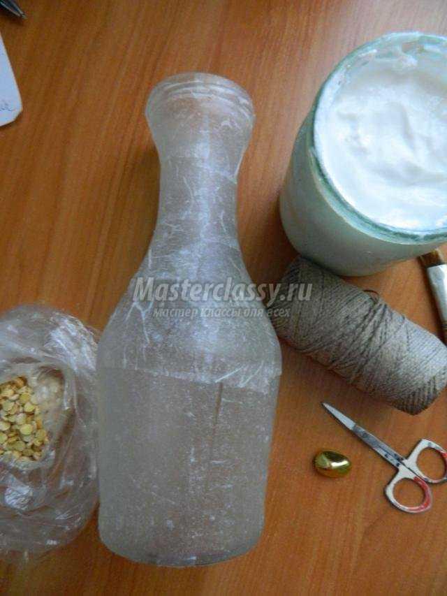 декор бутылки льняным шнуром