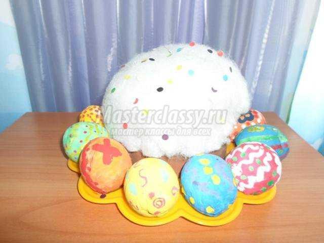 пасхальные яйца и кулич из гипса
