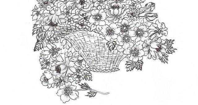 Корзина с цветами рисунок