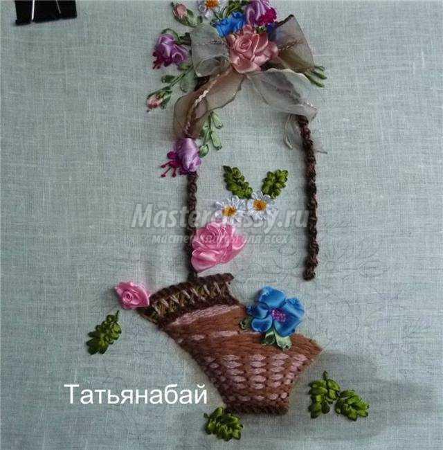 Вышивка розы в корзине из лент