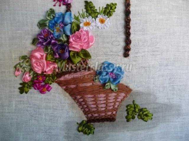 вышивка атласными лентами. Корзина с цветами