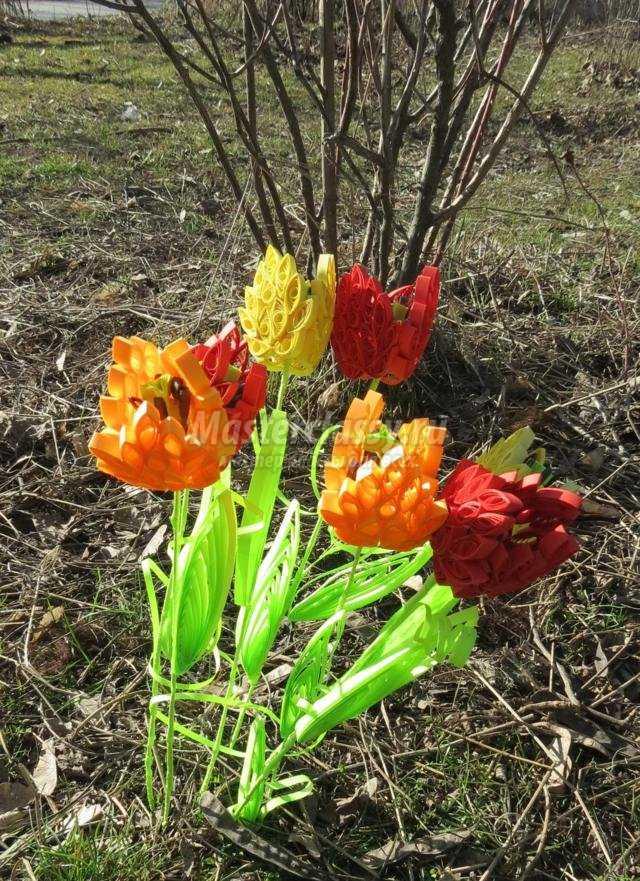 букет тюльпанов в технике квиллинг
