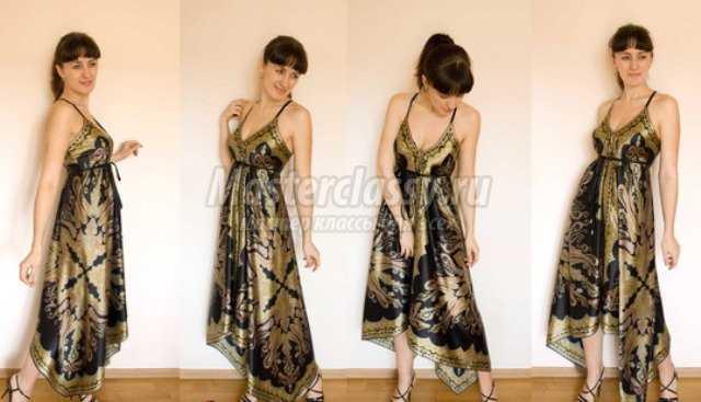Сшить платье из платков с выкройкой своими руками