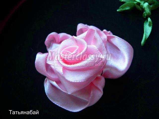 вышивка розы атласными лентами
