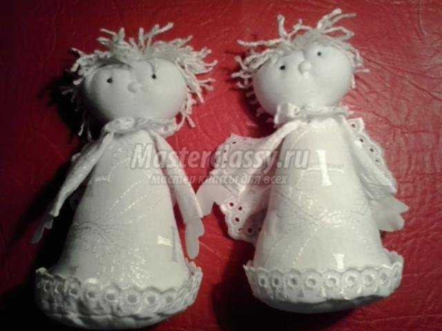ангелочки, сшитые из ткани