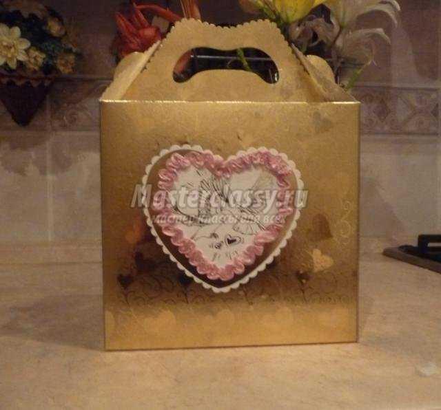 свадебные фужеры и коробочка своими руками