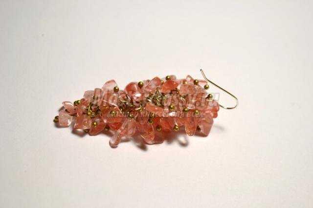 серьги wire wrap. Грозди розового кварца