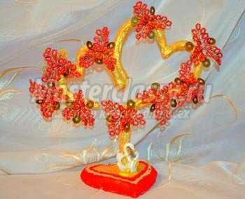 Дерево из бисера для влюбленных. Розовые сердца. Мастер-класс с пошаговыми фото