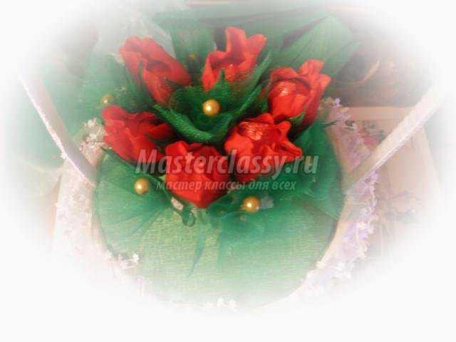 сладкая корзинка с цветами из конфет