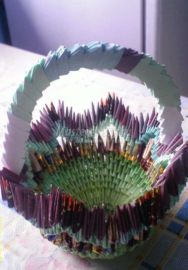 модульное оригами. Корзинка с подсолнухами