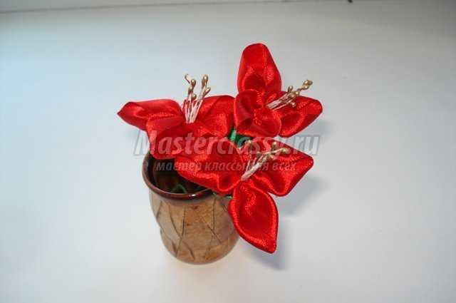 Цветы из атласных лент для букета