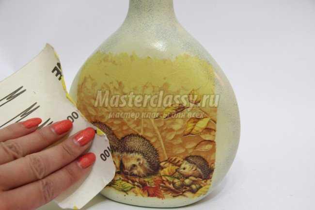 Осенний декупаж бутылки