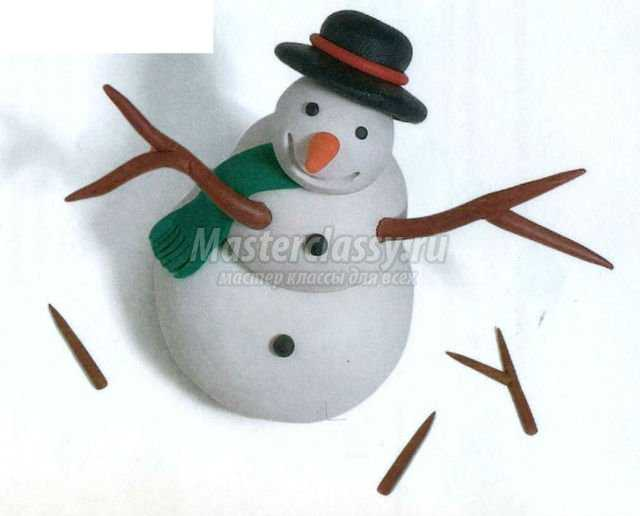 новогодние поделки из пластилина. Снеговик