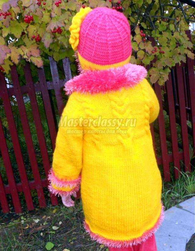 вязание пальто и шапочки для девочки