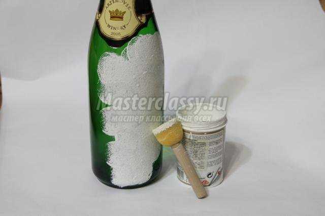 новогодний декупаж бутылки шампанского. Снеговики
