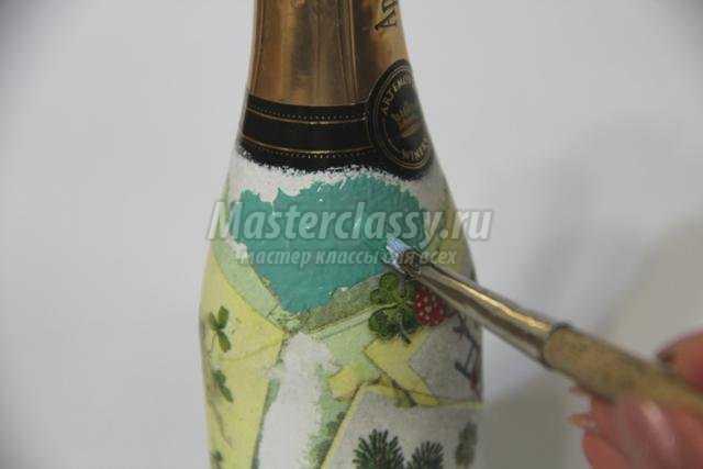 декупаж новогоднее шампанское. Винтажные открытки