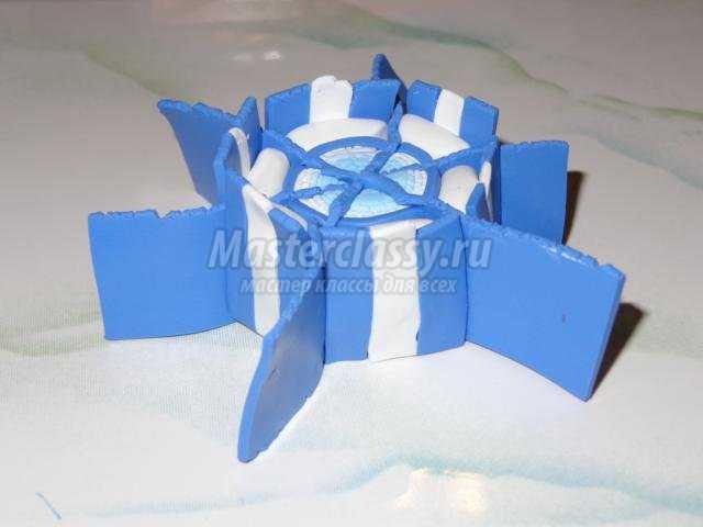 новогодний комплект украшений из полимерной глины. Снежинки
