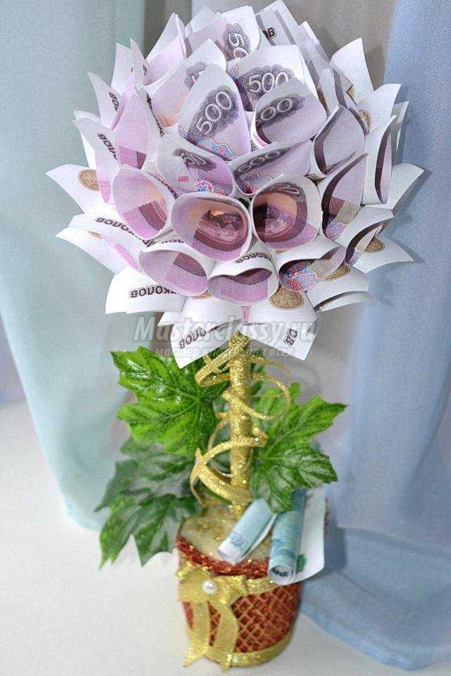 Денежное дерево своими руками из бумажных купюр фото