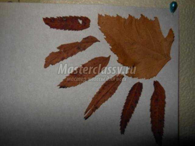 осенняя аппликация из листьев. Олень