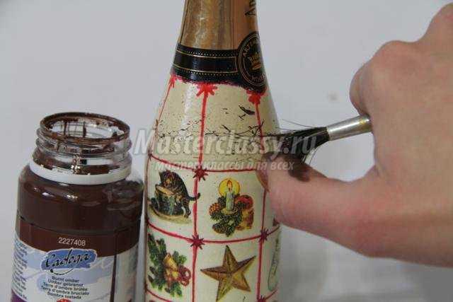 новогодний декупаж шампанского. Раритет