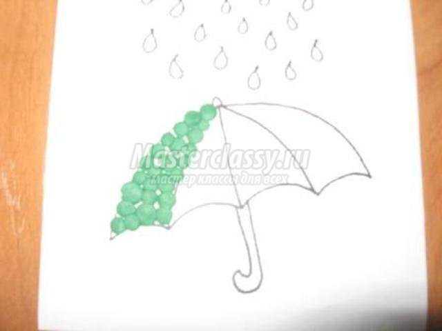 пластилиновые картинки пластилинография . Осенний дождик