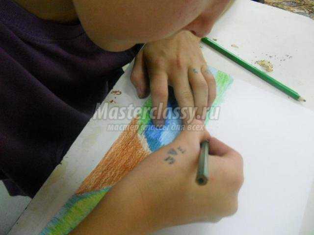 рисование карандашами картина. У реки