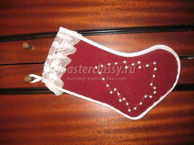 новогодние валенки для подарков из ткани