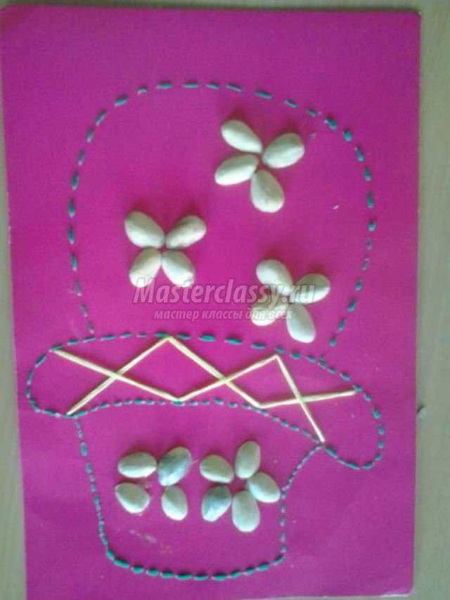 корзинка с цветами из фисташек