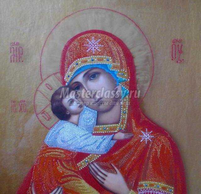 икона Владимирской Божьей Матери в технике пуантилизм