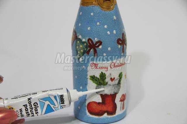 декупаж мини-шампанское. Рождественский подарок